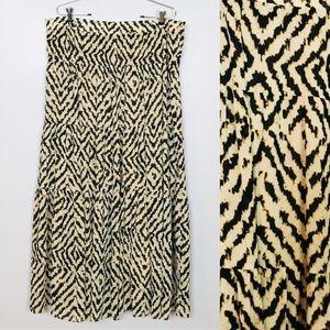 Ann Taylor Loft Ruffled Pleated Maxi Skirt Sz 14